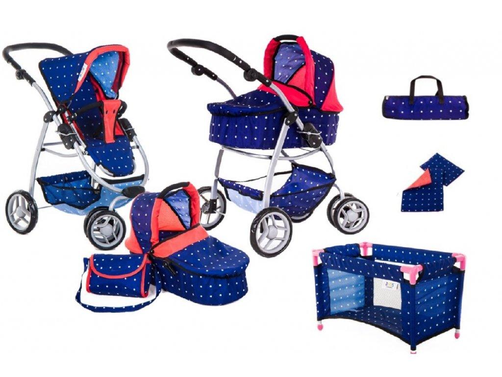 Doris kočárek pro panenky 4v1 modrý 9662