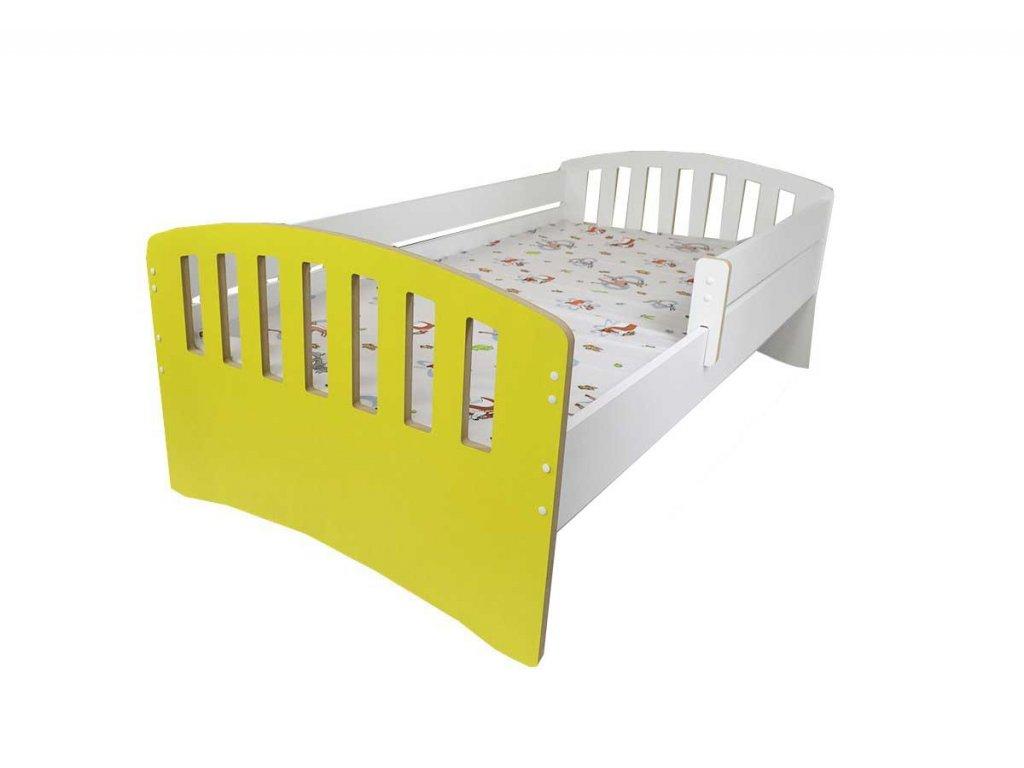 Dětská postel s bočnící Klasik žlutá