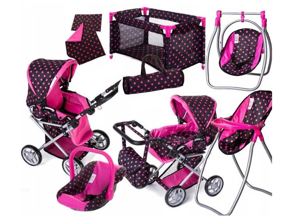 Doris kočárek pro panenky 9346 Tobi set 9v1 černý