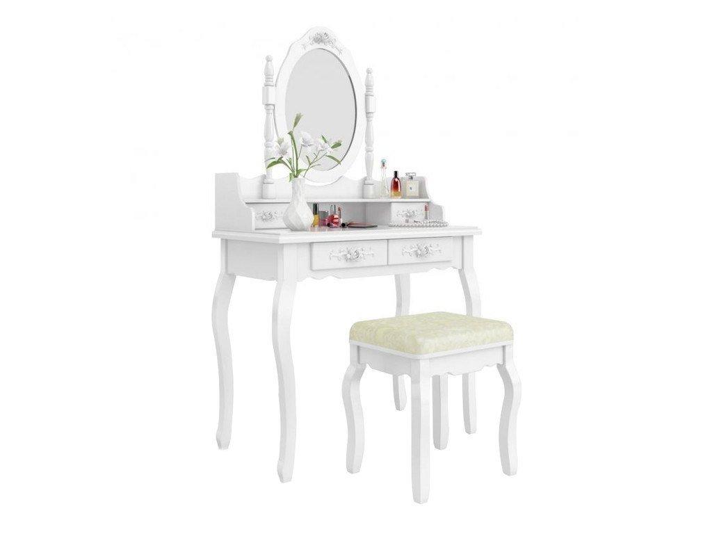 Tobiland toaletní stolek Vintage styl bílý (1)