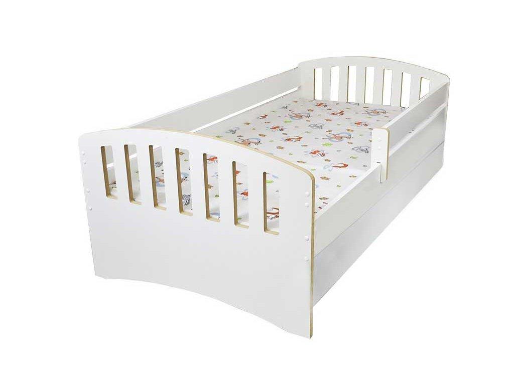 Dětská postel s bočnící a šuplíkem Klasik bílá 80x160 cm