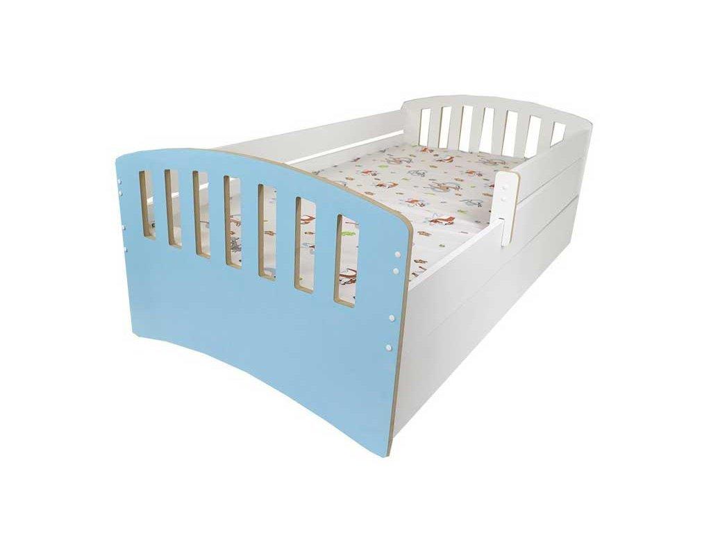 Dětská postel s bočnící a šuplíkem Klasik modrá 80x160 cm