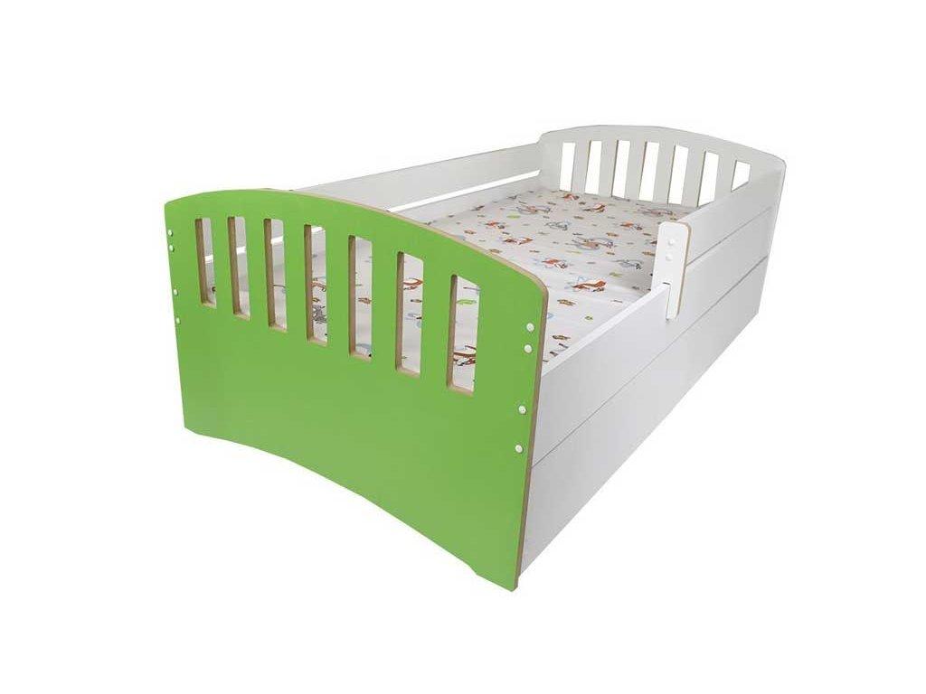 Dětská postel s bočnící a šuplíkem Klasik zelená 80x160 cm