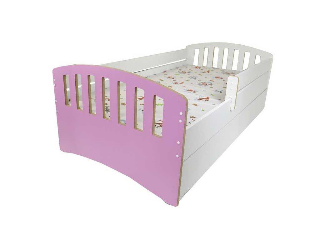 Dětská postel s bočnící a šuplíkem Klasik růžová 80x160 cm