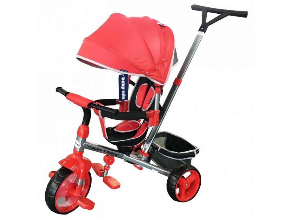 Baby Mix tříkolka s vodící tyčí Tour Trike 360 červená