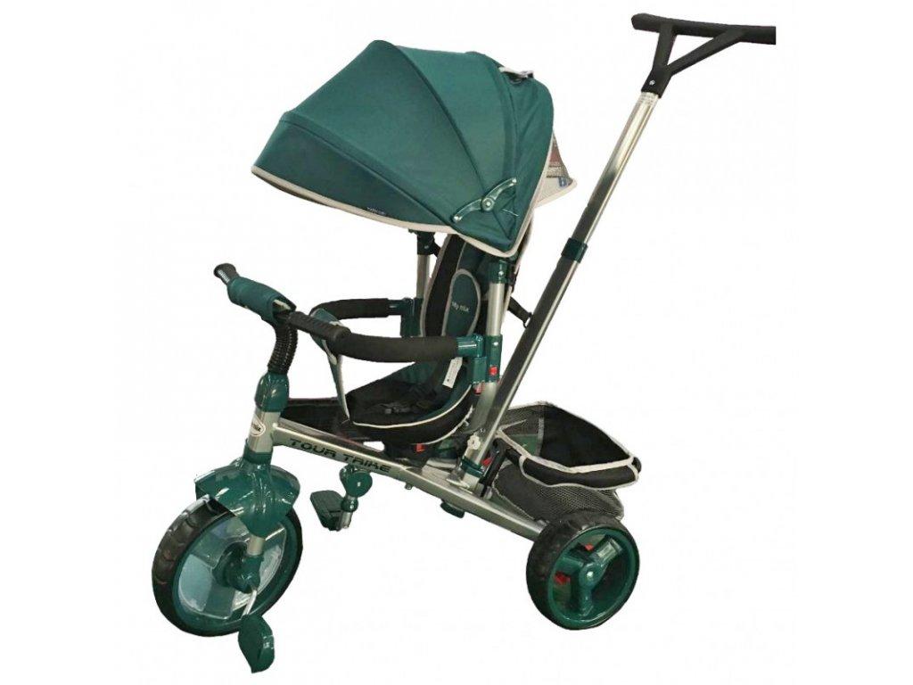 Baby Mix tříkolka s vodící tyčí Tour Trike 360 zelená