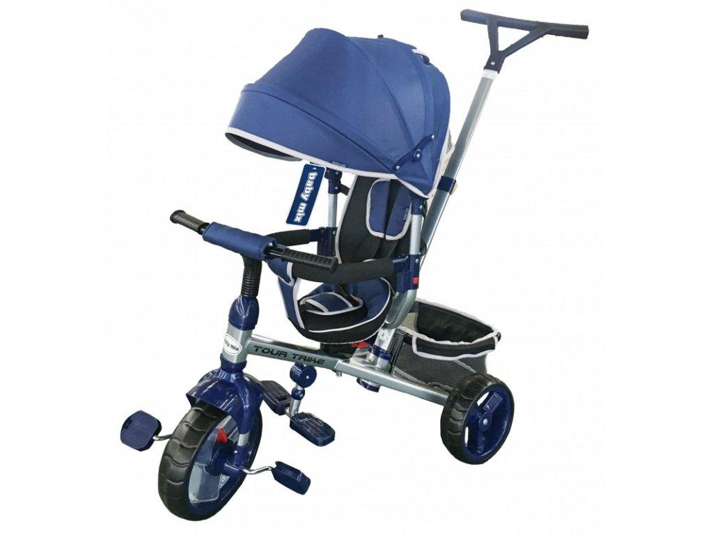 Baby Mix tříkolka s vodící tyčí Tour Trike 360 modrá