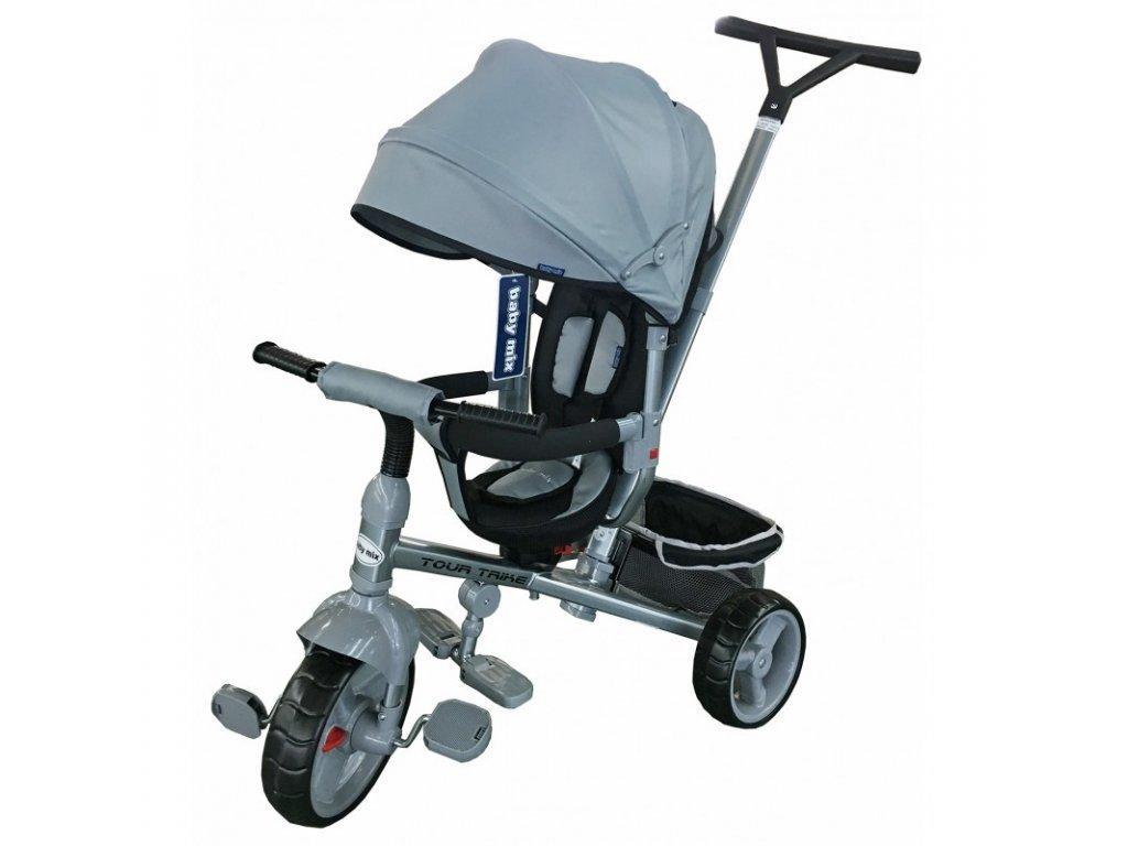 Baby Mix tříkolka s vodící tyčí Tour Trike 360 šedá