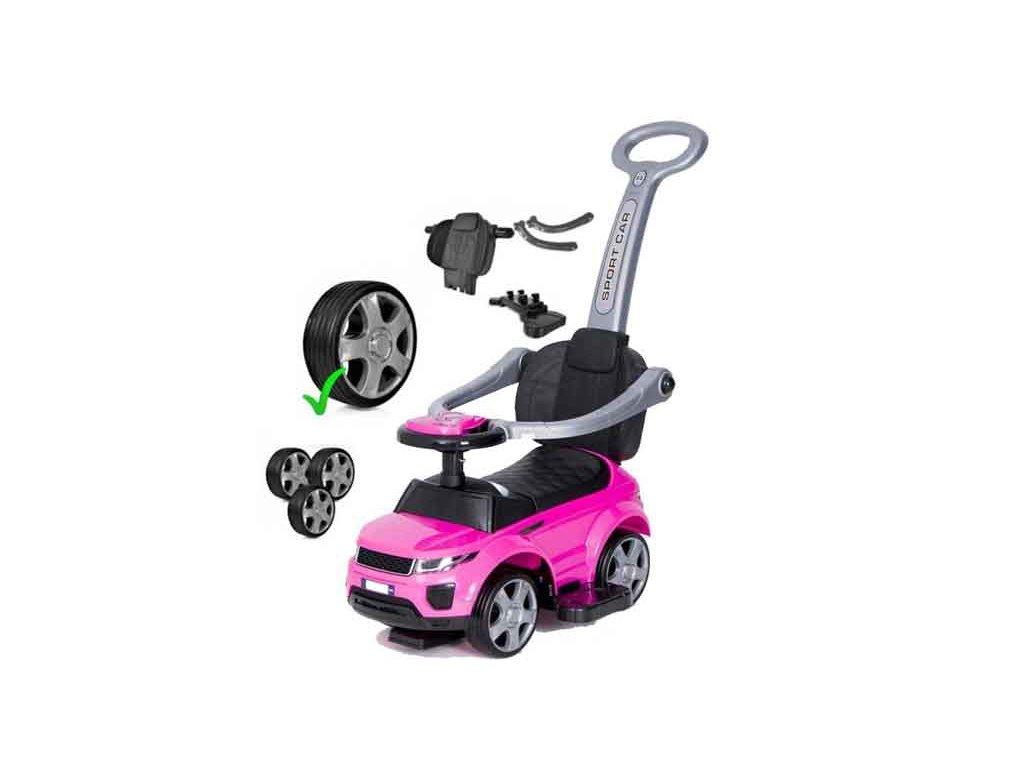 TBK odrážedlo Range Rover 4v1 s vodící tyčí a gumové kola růžové