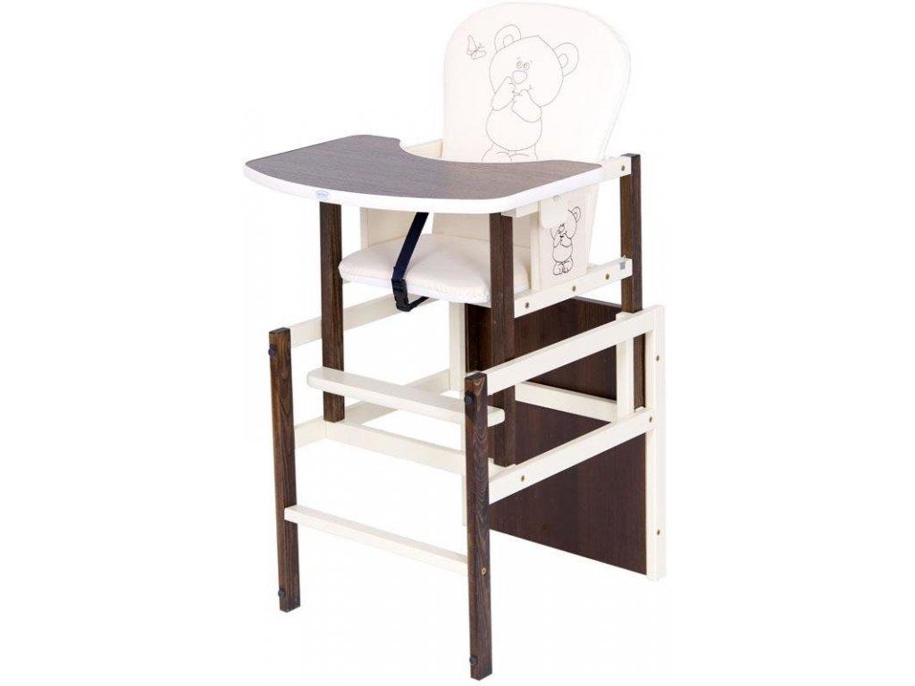 Jídelní židlička 2v1 Drewex Antonín medvídek a motýlek ořech