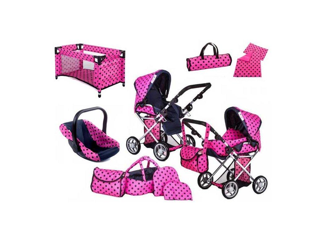 Doris kočárek pro panenky 9346 s postýlkou a nosítkem 7v1 růžový