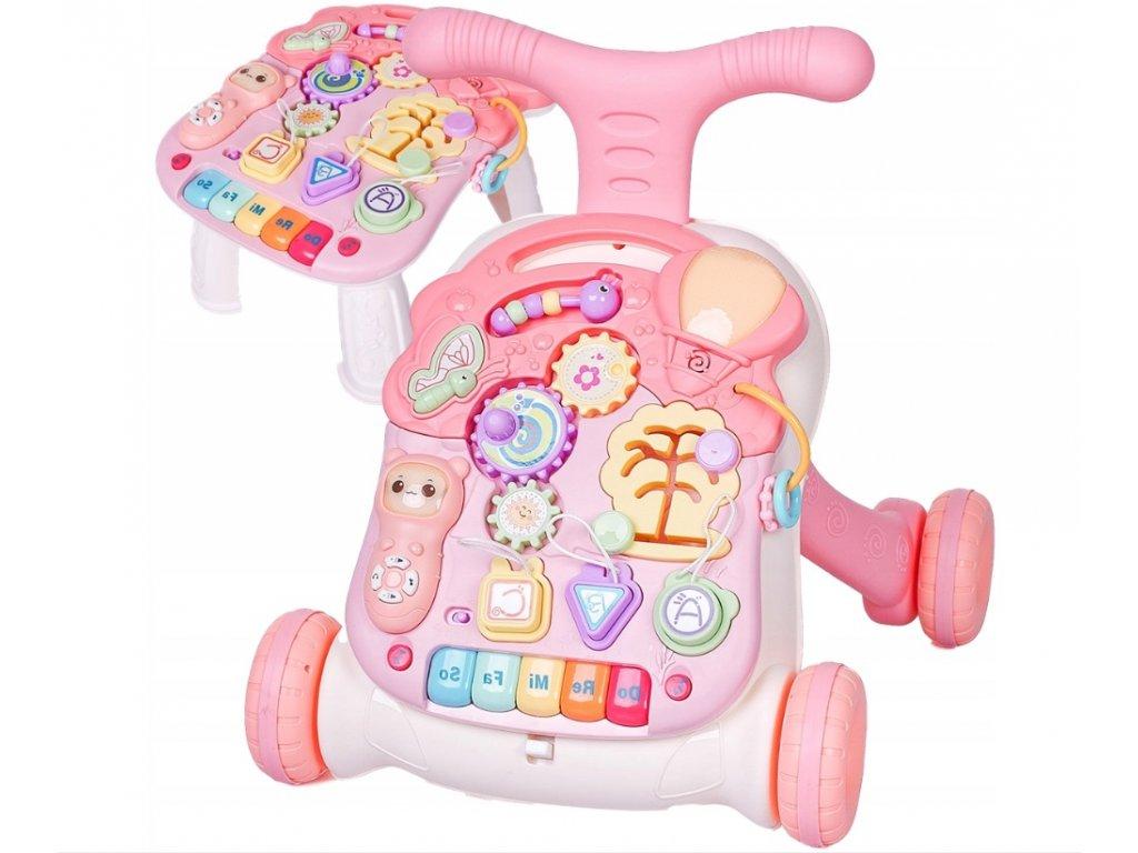 Doris barevné chodítko s hracím stolečkem růžové (1)