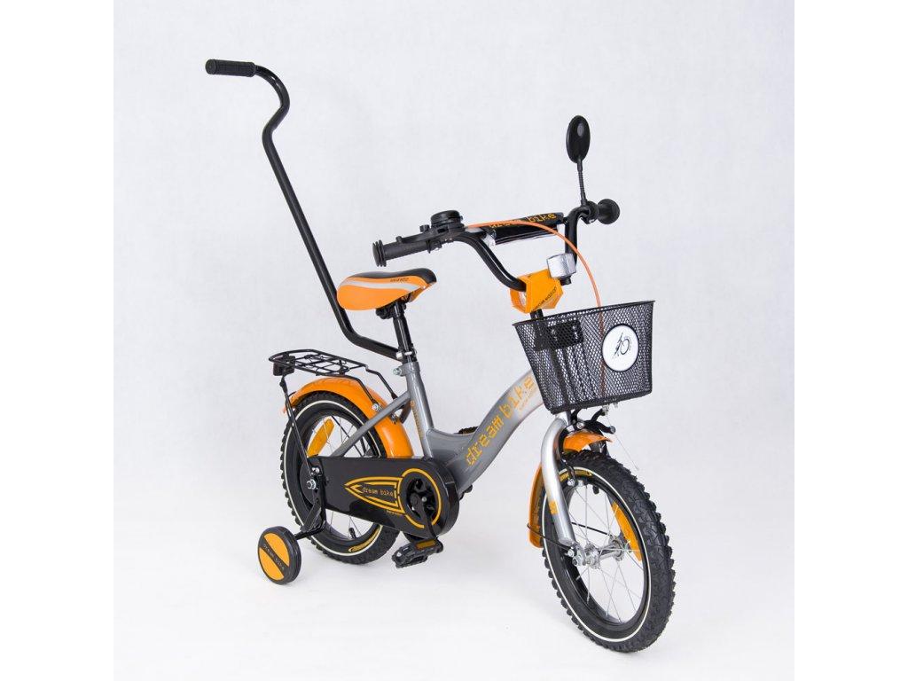 Dětské kolo 14 s vodící tyčí Dakota special edition oranžové (1)