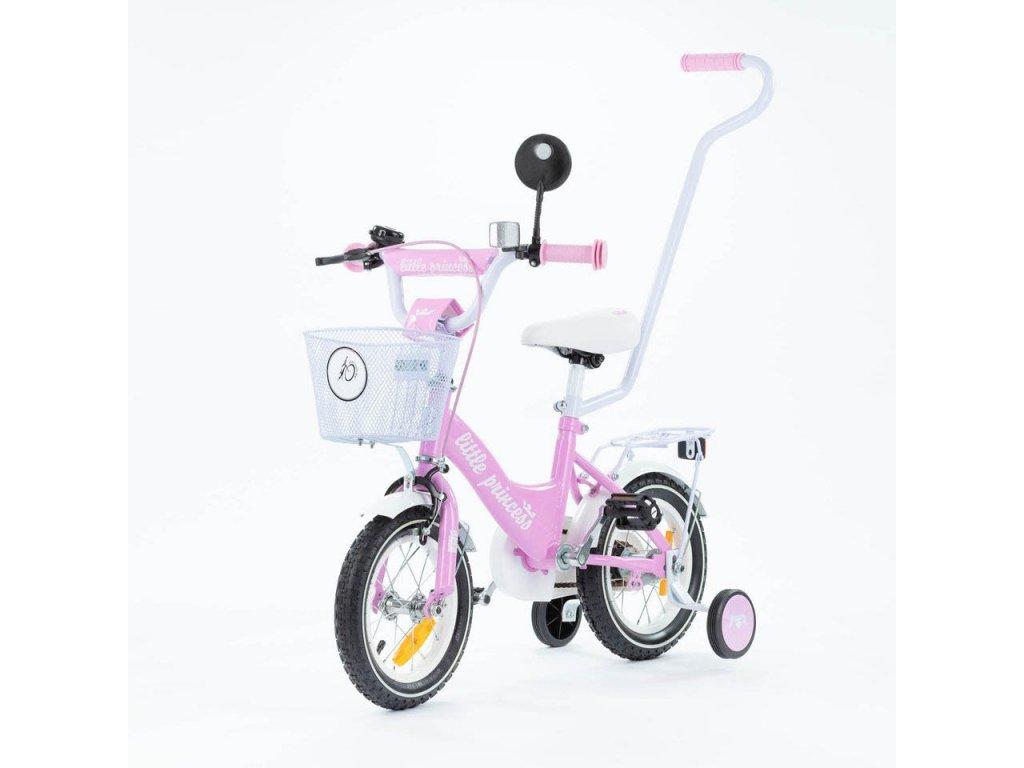 Dětské kolo 12 s vodící tyčí Little princess růžové (1)
