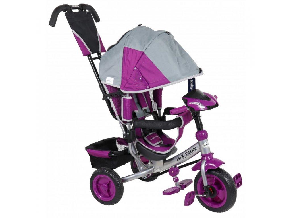Baby Mix tříkolka s LED světly Lux Trike šedo fialová 2020
