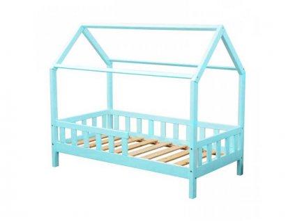 Dětská postel domeček s bočnicí borovice masiv bílý 80X160 cm novinka
