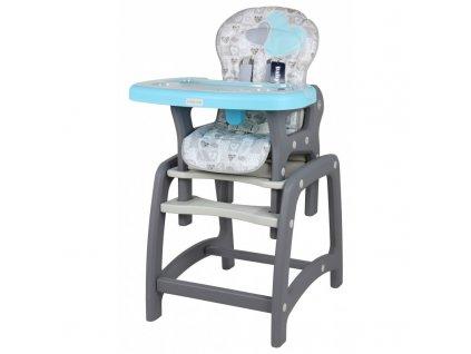 Jídelní židlička Srdce 2v1 modrá