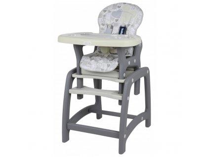 Jídelní židlička Srdce 2v1 latte 2020