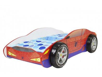 Dětská postel auto spiderman 3D kola 80x160 cm