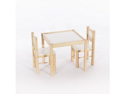 Tobiland dětský nábytek 3 ks, stůl s židličkami přirodní borovice (3)