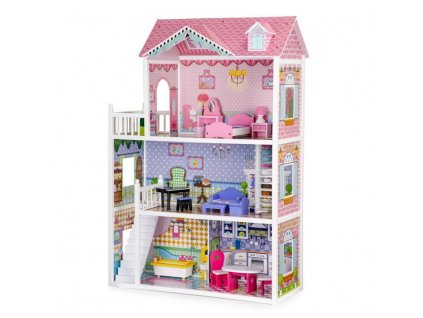 Eco Toys dřevěný domeček pro panenku XXL růžový 124 cm