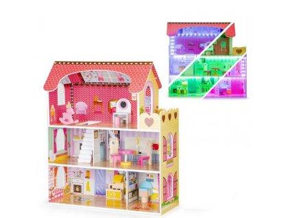 Eco Toys dřevěný domeček pro panenku basic s LED páskem růžový 79 cm
