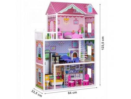 Eco Toys dřevěný domeček pro panenku XXL s výtahem růžový 123,5 cm (3)