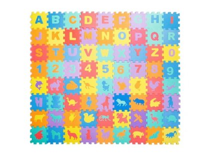 Pěnové puzzle písmenka, číslice a zvířata 72 dílků