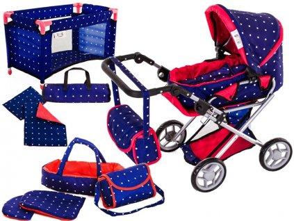 Doris kočárek pro panenky 9346 v 5v1 modrý