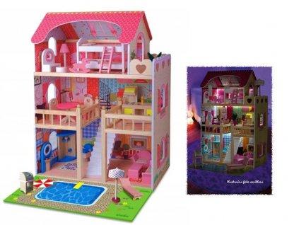 Doris dřevěný domeček pro panenku s LED páskem růžový 90 cm