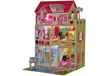 Doris dřevěný domeček pro panenky typu Barbie (5) + led pásek