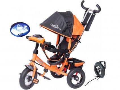 TBK tříkolka Tiger Magic s nafukovacími koly a LED oranžová