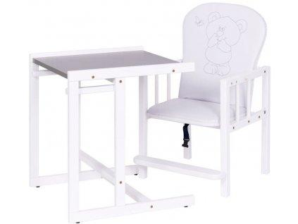 Jídelní židlička 2v1 Drewex Antonín medvídek a motýlek stříbrná3