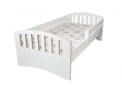 Dětská postel s bočnící Klasik bílá (2)
