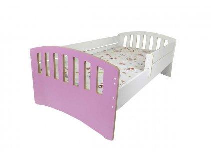 Dětská postel s bočnící Klasik růžová