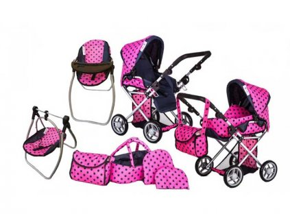 Doris Kočárek pro panenky 9346 Tobi set 6v1 růžový