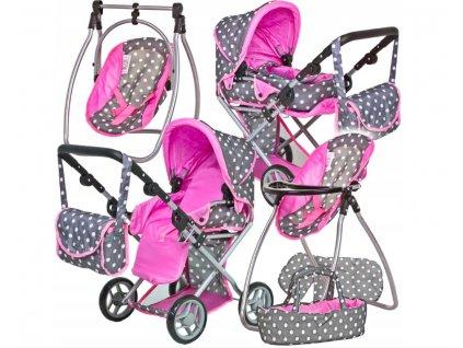 Doris Kočárek pro panenky 9346 Tobi set 6v1 šedo růžový