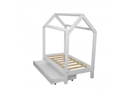 Dětská postel domeček se šuplíkem bílý 80x160 cm (1)