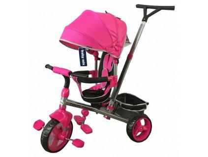 Baby Mix tříkolka s vodící tyčí Tour Trike 360 růžová