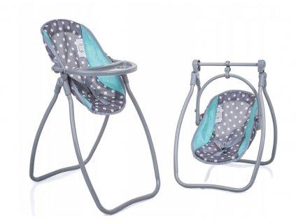 Doris jídelní židlička a houpačka 2v1 šedo zelená