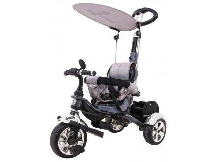 Dětská šlapací tříkolka Versa pěnové kola šedá