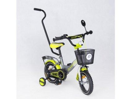 Dětské kolo 12 s vodící tyčí special edition zelené (1)
