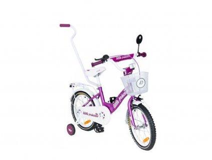 Dětské kolo 12 s vodící tyčí Little princess fialové