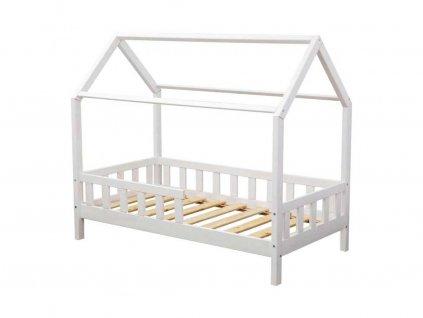 Dětská postel domeček s bočnicí borovice masiv bílý 80X160 cm