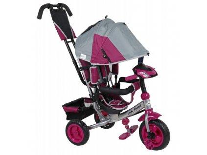 Baby Mix tříkolka s LED světly Lux Trike šedo růžová 2020