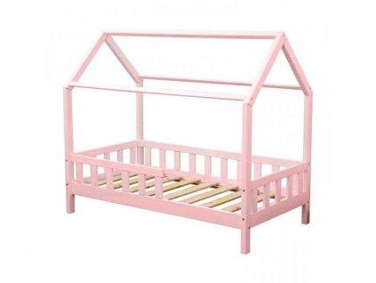 Dětská postel domeček s bočnicí borovice masiv pastelová růžová 80X160 cm