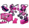 Doris kočárek pro panenky 7v1 růžový set velký