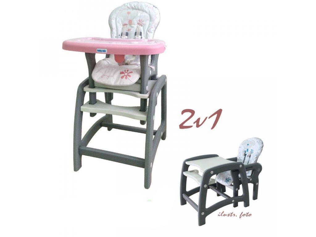 cb1ebffb2396 Jedálenská stolička Baby Mix 2v1 ružová - Tobiland.sk