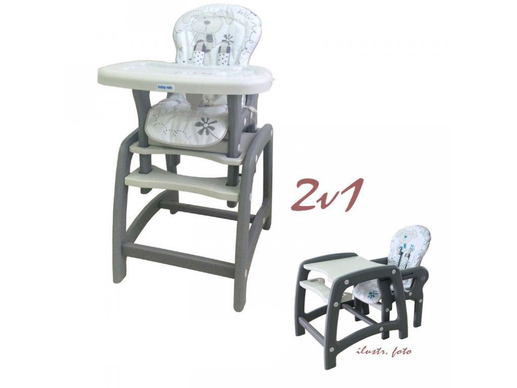 1b16b4a7ab3c Jedálenská stolička Baby Mix 2v1 šedá - Tobiland.sk