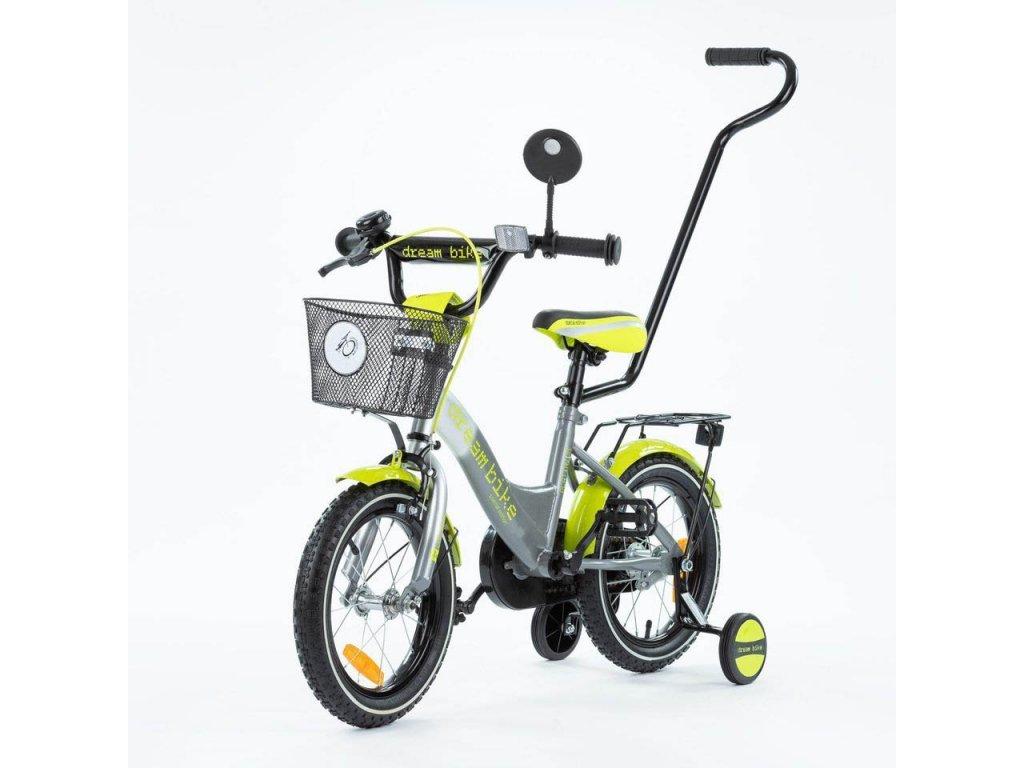 Detský bicykel 14 s vodiacou tyčou TBK Platinum silvergreen (5)